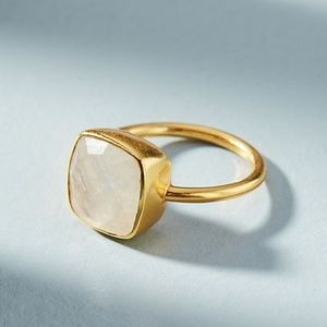 Anthropologie 14k Gold Encircled Gem Stone Ring